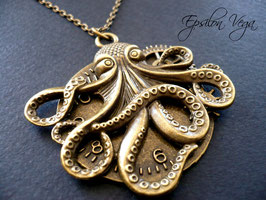 Sautoir steampunk octopus big