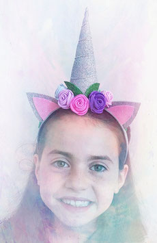 Unicorn headband Grey (glitter)