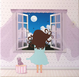 Zoé contemplant la lune