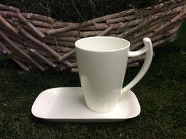Designer Porzellan-Mega-Becher Dekore pure weiß mit Untersetzer