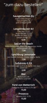 Drinks (zum dazubestellen)
