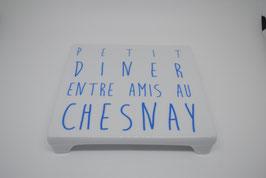 """Dessous de Plat """"Petit Diner entre amis au Chesnay"""" Bleu"""