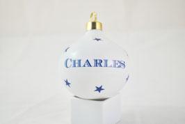 Boule de Noël Majuscules Bleue