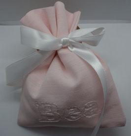 Sacchetto in tessuto rigatino color cipria con personalizzazione (nomi etcc.)