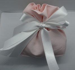 Sacchetto con fondo piatto in tessuto rigatino color cipria