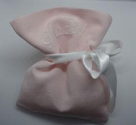 Sacchetto medio tessuto rigatino color cipria con personalizzazione (nomi etcc.)