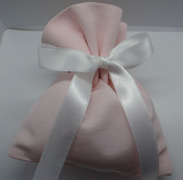 Sacchetto medio tessuto rigatino color cipria