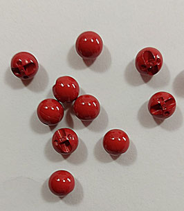 2 Stück, Kugelknopf dunkel rot, glänzend, 10 mm