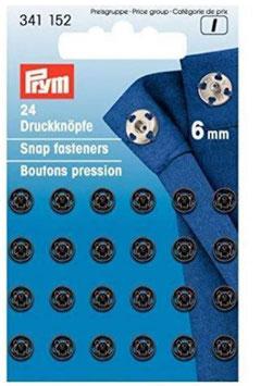 Druckknöpfe zum Annähen, Metall, schwarz, Prym 341152, rund, 6 mm, 24 Stück