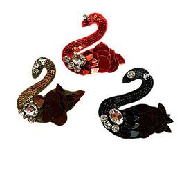 Designer Sticker, Schwan aus Pailletten, drei Farben, 7 x 6 cm, 1 Stück