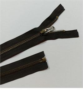 Reduziert, Metallreißverschluss für Motorrad Lederjacken, teilbar, 8 mm, extra stark, ab 60 cm, braun-schwarz