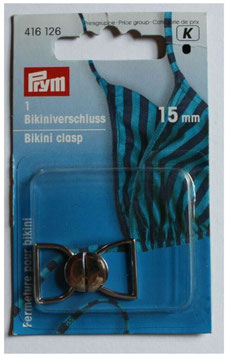 Bikiniverschluss, PRYM 416126, 15 mm, Farbe silber