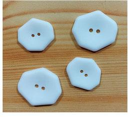 2 Stück, 2 Loch Designer Knopf, eckig, weiß, matt, 25 mm oder 30 mm