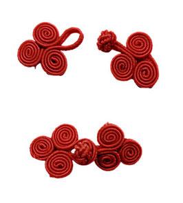 2 Stück, Chinesische Verschluss, zum Annähen, rot, 45 x 20 mm