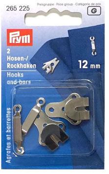 Prym 265225, Hosen und Rockhaken, Metall, silber, 12 mm, 2 Stück