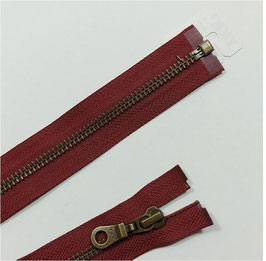YKK Metall Jacken Reißverschluss, teilbar, 1 Stück, ab 45 cm, bordorot 527