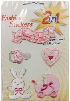 Fashion Sticker, 5-er Set in rosa, kleine Baby Motive, zum Aufbügeln