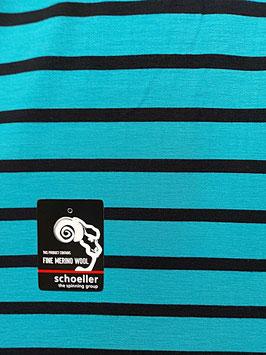 Angebot, Merino Woll-Jersey, Ringel, türkis-schwarz, 250, Superwash, 50 cm