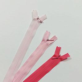 Nahtverdeckte Reißverschluss, rosa Farben, Länge 22 cm, 3 Stück