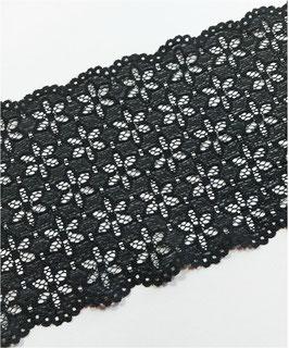 Reduziert, extra breite elastische Spitzenborte, 170mm, schwarz, 1 Meter