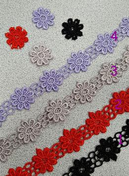 Blümchen Spitzenborte, 18 mm breit, mehrere Farben