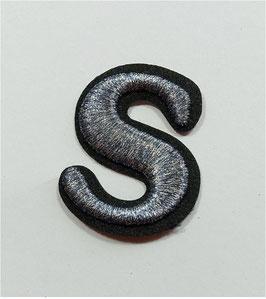 Designer Sticker, auffällige S-Form, schwarz-silber, 6 cm, 1 Stück