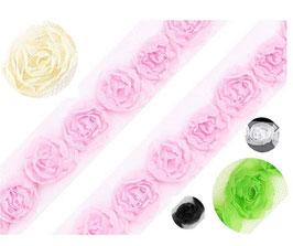 Zierliche Tüllborte für Mädchenkleider, mit Röschen, mehrere Farben, 20 mm breit, 1,50 m
