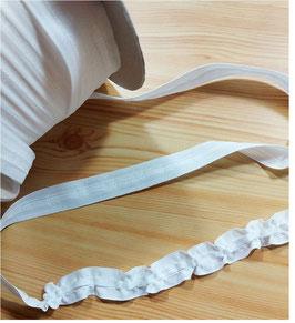 Kräuselband, schmal 20 mm, weiß, für kurze Gardinen ideal, 1 Meter