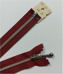 YKK Metall Reißverschluss silber teilbar mit Kugelstab, 30 cm, bordorot 527