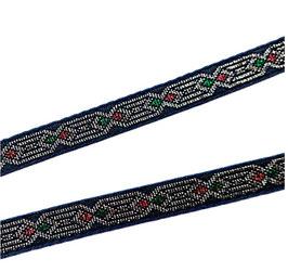 Etno-Ornament-Borte, dunkel blau-silber, 13 mm, 1 Meter