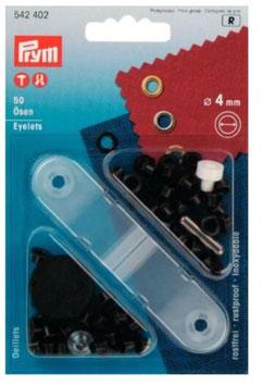 Prym 542402, Ösen, Metall, schwarz, 4 mm, Packung