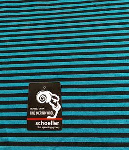 Angebot, Merino Woll-Jersey, Ringel 7mm, türkis-schwarz, 250, Superwash, 50 cm