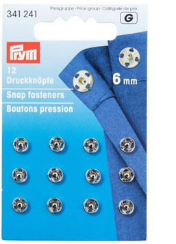 Druckknöpfe zum Annähen, Metall, silber, Prym 341241, rund, 6 mm, 12 Stück