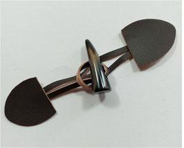 2 Stück, Knebelverschluss, Dufflecoat Verschluss, echt Leder in braun, 17 cm