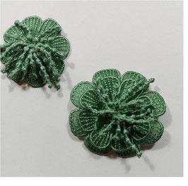 Designer Sticker, 3-D Blume in patina grün, 4 und 5 cm, 2 Stück