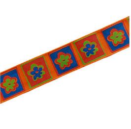 Dekoband, Ripsband Borte zum Verzieren, 25 mm, orange-blau-grün, 2 Meter