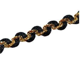 Zweifarbige Posamentenborte mit Wellen, Farbe schwarz-gold, 15 mm, 1 Meter