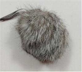 Bommel, Hasenfell, grau meliert, zum Annähen, 8 cm, 1 Stück
