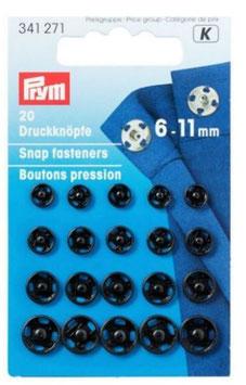 Druckknöpfe zum Annähen, Metall, schwarz, Prym 341271, rund, 6-11 mm, 20 Stück