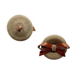 2 Stück, Designer Ösenknopf aus echt-Leder, Farbe natur, 30 mm