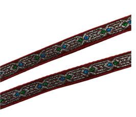 Etno-Ornament-Borte, braunrot, 13 mm, 1 Meter