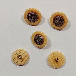 2 Stück, Landhaus Knopf mit Verzierung, Ösenknopf, beige mit Altgold, 22 mm