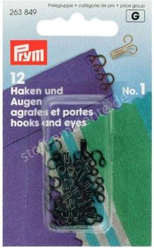 Prym 263849, Haken & Augen, Annähen, Metall, schwarz oder silber, Nr.1, 12 Stück