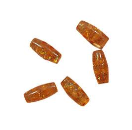 2 Stück, Schmuck-Knopf, Knebelknopf, orange, glitzert, 20 mm