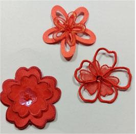 Rote Designer Sticker in Blümchenform, bis 5,5 cm groß, 3-er Set