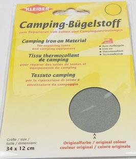 Camping- Bügelstoff aus Original-Zeltstoff, 34 x 12 cm, Farbe hellgrau