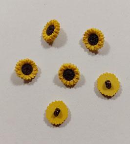 2 Stück, Kinderknopf, Sonnenblume,  15 mm