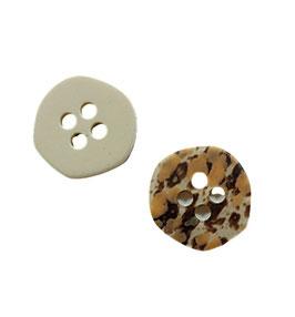 2 Stück, 4 Loch Designer Knopf in Tiger Look, matt, 35 mm