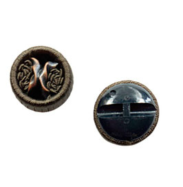 2 Stück, Posamenten Designer Ösenknopf mit Röschen, Farbe braun, 30 mm