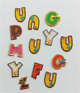 Bunte Buchstaben Sticker, für Reparatur, 3 cm, 12 Stück